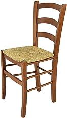 Tommychairs - Stuhl Venice für Küche und Esszimmer, Robuste Struktur aus lackiertem Buchenholz im Farbton Nuss und Sitzfläche aus Stroh. Stuhl Modell Venice