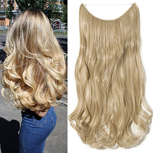 50cm extension capelli lunghi mossi fascia unica con filo invisibile ondulati one piece wire in hair extensions 3/4 full head , biondo cenere/biondo chiarissimo
