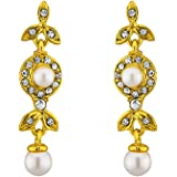 Sri Jagdamba Pearls Gold Pearl Cz Hangings for Women