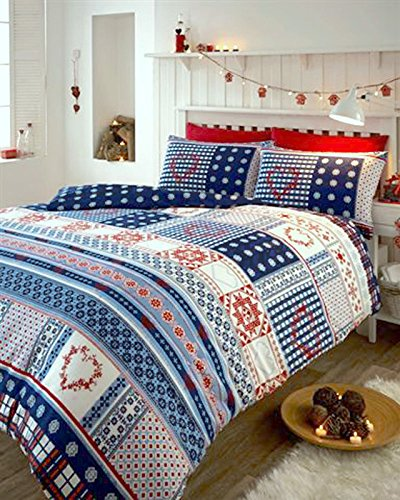 POLYCOTTON NORDIC PATTERN DUVET COVER BED SETS IN RED WHITE & BLUE (Superking)