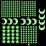 230stk Wandtattoo Sternenhimmel fluoreszierende Leuchtsterne Mond selbstklebend Wandsticker Kinderzimmer Schlafzimmer