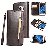casefirst Samsung Galaxy S7 Edge Case Luxury PU Leather Wallet Flip Protective Backcase Case Cover with Card Slots and Stand for Samsung Galaxy S7 Edge Dark Brown