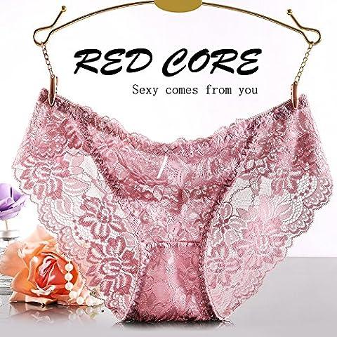 Dngy* biancheria intima sexy lace non-marking 3 low-rise corner Pantaloni donna tentazione di temperamento e intimo ,M, e rosa