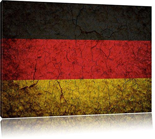 Deutschlandfahne Format: 100x70 cm auf Leinwand, XXL riesige Bilder fertig gerahmt mit Keilrahmen, Kunstdruck auf Wandbild mit Rahmen, günstiger als Gemälde oder Ölbild, kein Poster oder Plakat