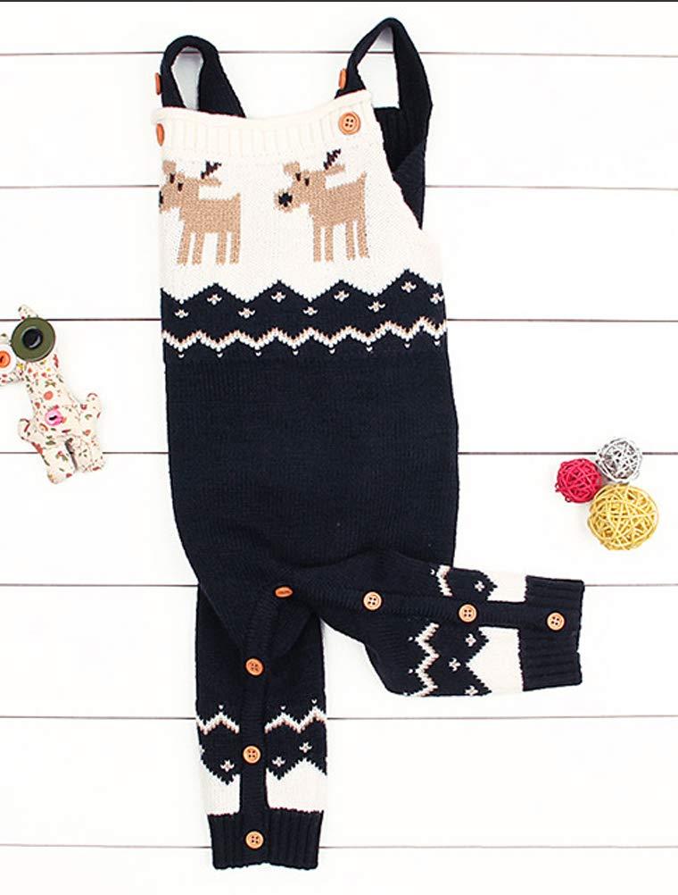 Odziezet Navidad Peleles Mono de Punto Bebé Pantalones con Peto Rojo Azul Invierno Recién Nacido 0-1años 5