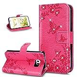 Kompatibel mit Galaxy S6 Edge Hülle,Glänzend Bling Strass Diamant Prägung Rose Blumen Schmetterling PU Lederhülle Brieftasche Handyhülle Taschen Flip Wallet Ständer Schutzhülle,Hot Pink