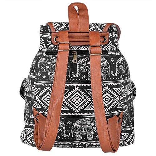 Demarkt Damen Canvas Rucksack Daypack Backpack Vintage Freizeitrucksack Schulrucksack mit Großer Kapazität Elefant Muster (Schwarz) Schwarz