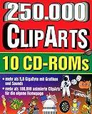 Zweihundertfünfzigtausend ClipArts, 10 CD-ROMs105.000 animierte GIFs, 118.000 GIFs, 1.500 MIDI-Files, 5.900 WAV-Effekte