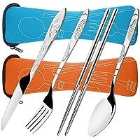 8 piezas de cubiertos cuchillo, tenedor, cuchara, palillos, SENHAI paquete de 2