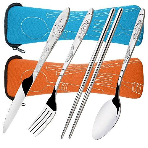 Senhai 8 Piezas Mostrada Conjuntos Cuchillo, Tenedor, Cuchara, Palillos, 2 Paquetes Vajilla con Estuche de Transporte para Viajar Cámping Picnic Excursionismo(Naranja, Azul Claro)