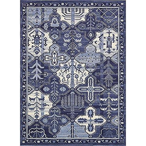 Paese moderno tappeto tradizionale la Jolla contemporaneo, Polipropilene, Blue, 8 x 11