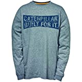 Caterpillar - Curved Banner Long Sleeve T-Shirt - Dark Heather Grey - 4XL - UK 4XL EU / 4XL UK