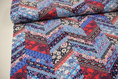 Stoff / 50cmx140cm / Kinder / beste Jersey-Qualität / Jersey Patchwork Blumen blau, rot, türkis