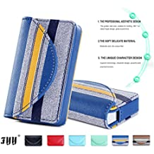 Fyy 100% Handmade Premium Leather Business Name Card Case Universal Card Holder with Magnetic Closure (Hold 30 pics of cards) Pattern Navy, [Importado de Reino Unido]