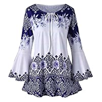 Dubocu Women's Fashion Plus Size Printed Flare Sleeve Tops Blouses Keyhole T-Shirts Blue US:12