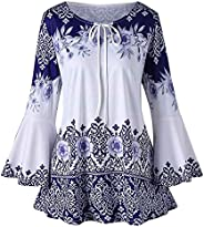 Dubocu Women's Fashion Plus Size Printed Flare Sleeve Tops Blouses Keyhole T-Sh