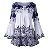 JUTOO Fashion Damen Plus Size Printed Flare Sleeve Tops Blusen Schlüsselloch T-Shirt (A1-Blau,XXXX-Large)