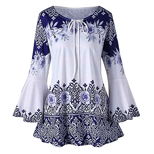 QingJiu Fashion Womens Plus Size Printed Flare Sleeve Tops Blouses Keyhole T-Shirts ()