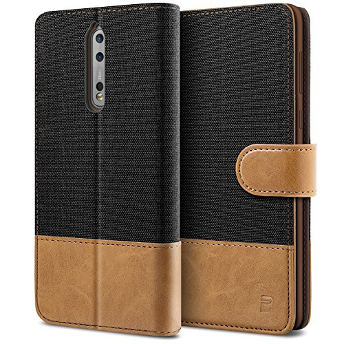 BEZ Cover Nokia 8, Custodia Compatibile per Nokia 8 Protettiva in Tela e PU Pelle Libro Flip Case con Porta Carte Funzione Appoggio, Chiusura Magnetica, Nero