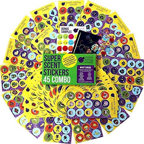 Duftende Stickers / Aufkleber von Purple Ladybug Novelty | Megaset aus 45 Bögen mit lustigen Duftstickern für Lehrer und Kinder | 15 verschiedenen Düfte wie Erdbeere, Zitrone uvm.