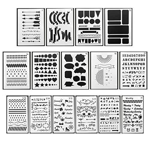 DUOUPA Zeichenschablonen Bullet Journal Schablone Set aus Kunststoff 15 Stück Schablonen Muster-Schablonenmalerei für Scrapbooking DIY -