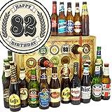 Geschenk zum 82. | Bier Adventskalender mit Bieren aus aller Welt | Geschenke zum 82 Geburtstag Mann Deko | GRATIS 6x Geschenk Karten, 3 Urkunden, Bierbewertungsbogen