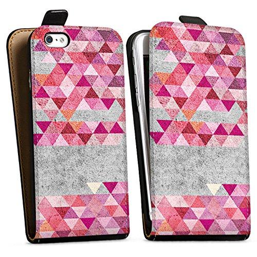 Apple iPhone X Silikon Hülle Case Schutzhülle Dreiecke Hipster Muster Downflip Tasche schwarz