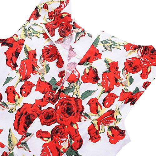 Donna Vestito Vintage Scollo a Giro Stampata Floreale Abito da sera Orlo da cintura 2018 nuovo Senza Maniche Vestito Slim Elegante e Retrò Gonna Cotone Stampa White
