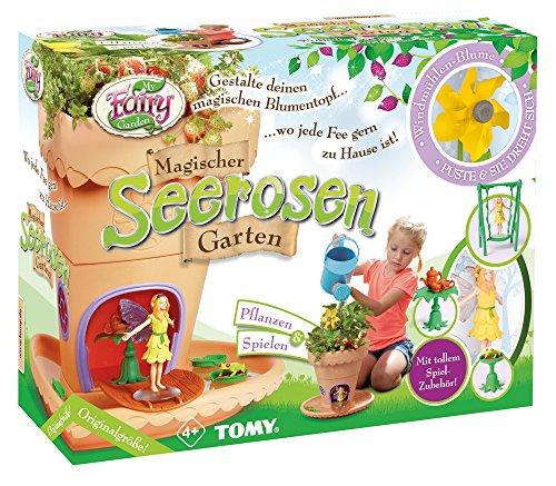 TOMY My Fairy Garden Spielzeugset - Magischer Seerosen-Garten für Kinder ab 4 Jahre / Blumentopf selber bepflanzen & mit Feen-Figur spielen, 1x Set Seerosen Garten inkl. Grassamen (Fairy Garden Kreativität Für Kinder)