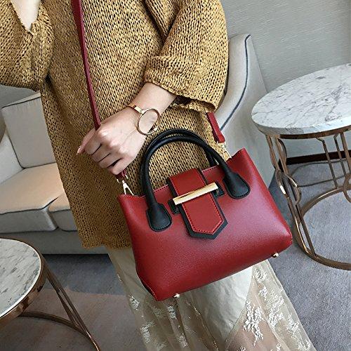 Pacchetto LiZhen donna autunno i nuovi coreano piano colore custodia per il trasporto e il pacchetto femminile di elegante semplicità a spalla un cross-package, nero Vino rosso