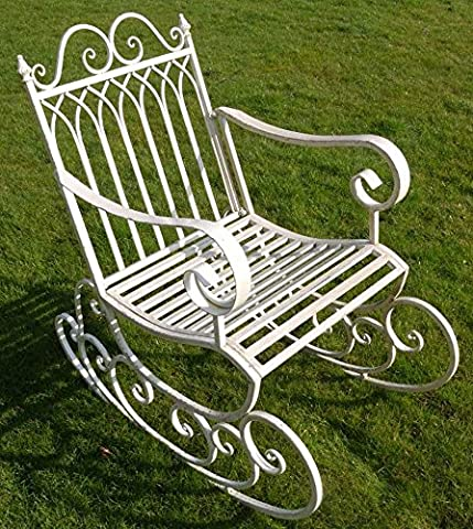 Victorian Style Metal Garden Rocking Chair In A Shabby Chic