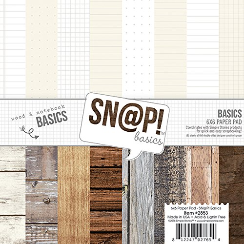 Simple Stories Simple Stories Doppelseitiges Papier Pad 6x 62-snap Farbe Vibe Basics Holz und Notebook, andere, Mehrfarbig (Notebook-papier Farbe)