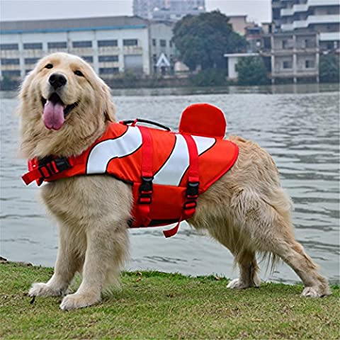 Dog Life Jacket Vest Fish Style Swimsuit Swimming Pool Preserver with Handle Adjustable Belt For Small Large Size Bulldog Retriever Alaskan Malamutes Beach Boating Playing , Red ,