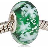 Sandcastle Jewellery - Ciondolo per braccialetti componibili europei, in vetro di Murano e argento Sterling 925, motivo:fior