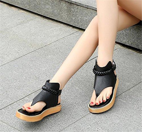Wealsex Sandales Flip Flop Plates Femme Tongs Confortable Chaussure Été Voyage Plage Noir