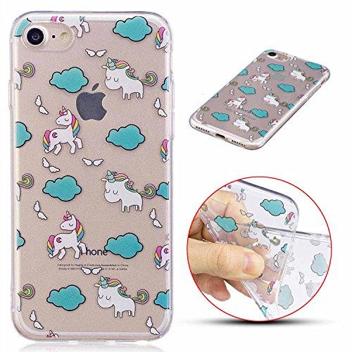 iPhone 7 Hülle, MSK TPU Silikon Schutz Handy Hülle Handytasche HandyHülle Etui Schale Schutzhülle Case Cover Tasche Etui für Apple iPhone 7 - Pinguin Einhorn