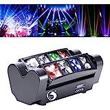 Yimosi 60W Lyre 8 Leds,Disco Lumière d'araignée DMX512 RGBW4 en 1 Lampe de Scène Commande Vocale Éclairage DJ Soirée Fête Bar