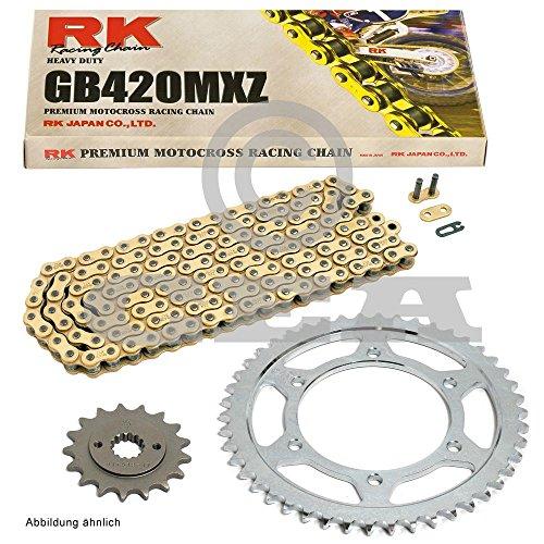 Kettensatz Honda MSX 125 Grom 13-15, Kette RK GB 420 MXZ 106, offen, GOLD, 15/34