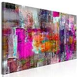 decomonkey | Bilder Abstrakt 135x45 cm | 1 Teilig | Leinwandbilder | Bilder | Vlies Leinwand | Bilder | Wand | Bild auf Leinwand | Wandbild | Kunstdruck | Wanddeko | bunt violett rot blau | DKA0236b1PXL