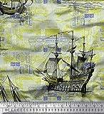Soimoi Grun Baumwoll-Popeline Stoff Schiff Ozean Stoff