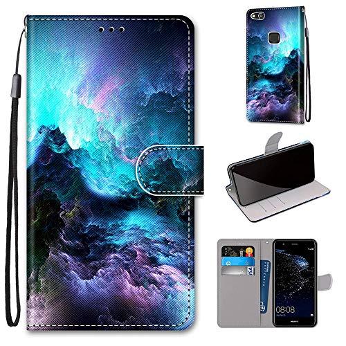 Miagon Flip PU Leder Schutzhülle für Huawei P10 Lite,Bunt Muster Hülle Brieftasche Case Cover Ständer mit Kartenfächer Trageschlaufe,Wolke