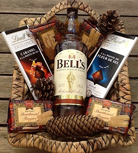 Luxury Bells Whisky 1litre & Luxury Lindt Chocolate Bars & Scottish shortbread Hamper - Perfect for Any Occasion