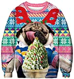 Ocean Plus Herren Digitaldruck Pulli Creww Neck Halloween Thema Sweatshirt Weihnachten Unisex Langarm Pullover (M (Brustumfang: 108cm), Eiscreme Mops)