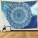 Dremisland Fleur Bleu Clair Tapisserie Murale Tenture Mandala Indien bohème Hippie Couvre-lit Rideau couvertures Plage Tapis Tapestry (L / 148x200cm)