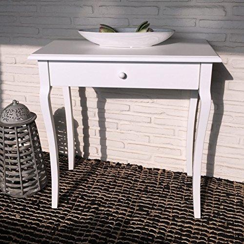 Konsolentisch Holz weiß Kommode Anrichte Sideboard Schreibtisch Sekretär Wandtisch Schminktisch Frisierkommode 75 x 40 x 75 cm