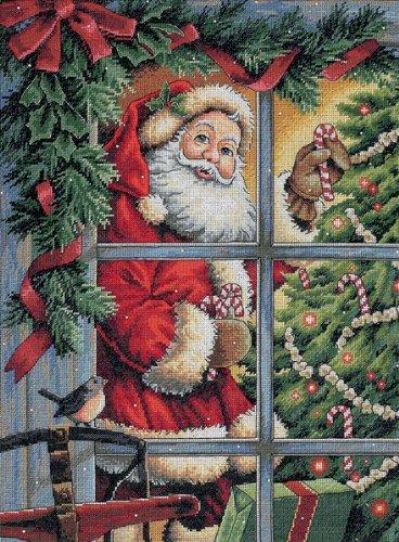 Dimensions Gezählter Kreuzstick Set, Gold Candy Cane Santa