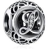 ChicSilver Femme Charme Argent 925 pour Bracelet,Breloque Perles Charms Lettres A-Z pour Bracelets,Bijoux Charms Pendentif 26
