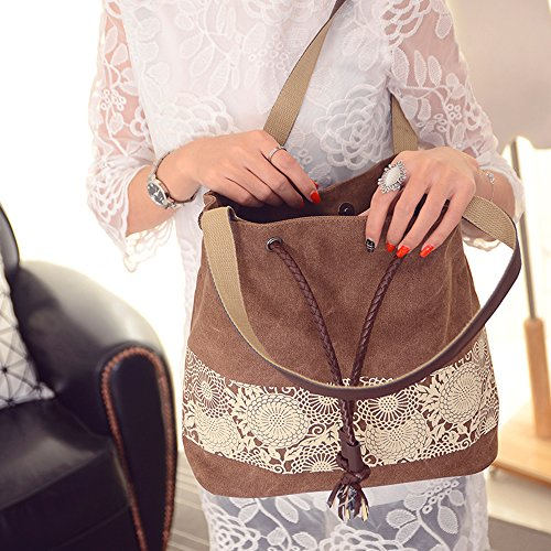 BYD - Donna Female Canvas secchiello Bag Borse a spalla School Bag with PU Leather Strap with Printed Flower Design Brown