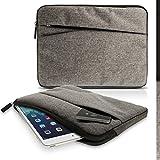 igadgitz Grau Canvas Gewebe Schutzhülle Beutel Tasche Case cover mit Fronttasche für Lenovo IdeaTab S6000, Think Pad, Yoga Tab 2, 3 Pro 10.1