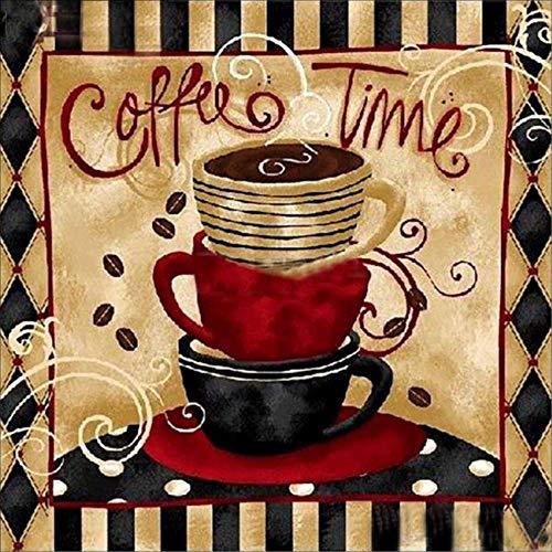 Coffee Time Diamant Malerei Kits-pigboss 5D Full Diamond Malen nach Zahlen-Kristall Diamant Stickerei Kreuzstich Kaffee Küche Decor Art Geschenk für Erwachsene (30x 30cm) - Kristall Kaffee